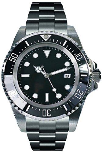 PARNIS 2033 sportliche XL Herren-Automatik-Uhr 44mm Markenuhrwerk Keramiklünette Flip-Lock Edelstahl-Armband 5BAR wasserdicht DIN 8311