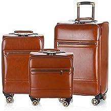 12b4e384d Viaje llevar equipaje de cabina 16in 20in 24in PU cuero Equipaje Conjuntos  de 3 piezas Montantes