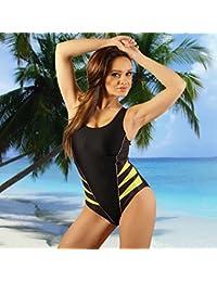 STANTEKS Damen Badeanzug Schwarz / Gelb Größe:44