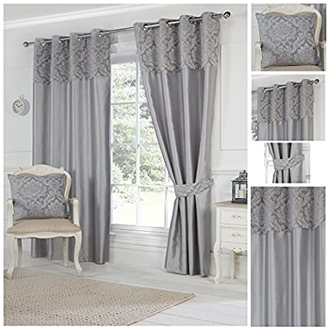 Darcy Grey Top Bordered Ring Top / Eyelet Fully Lined Readymade Curtain Pair 46x54in(116x137cm) Approximately By Hamilton McBride®