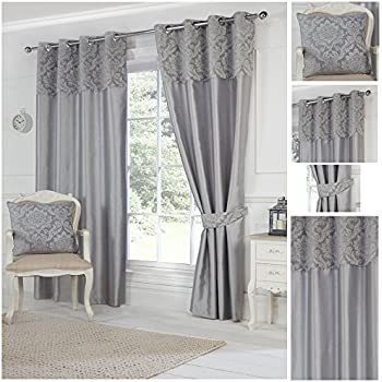 Striped Black Cream Grey Pair Lined Eyelet Ring Top Curtains 46 Wide X 54 Drop