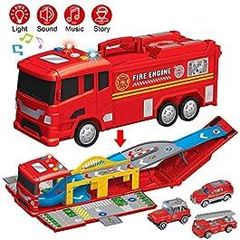 YIMORE Camion dei Pompieri Giocattolo, Veicolo Elettrico dell'automobile con 3 Camion Luci Suo