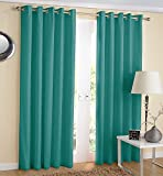"""noah's Linen Thermal Insulated Blackout Curtain Pair Eyelet Ring Top Ready Made Including Tie Backs 90"""" (width) x 90"""" (drop) Teal Color"""