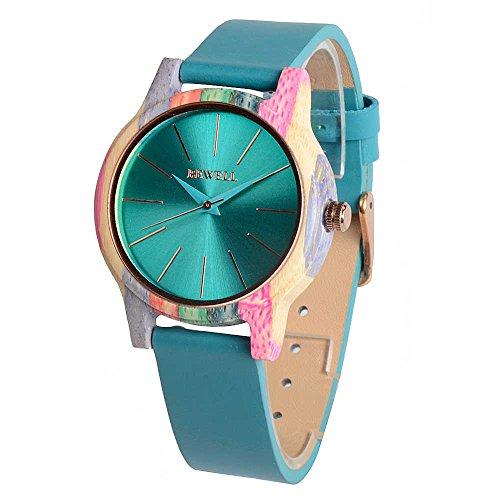 Holz Armbanduhr Analog Quarz Bewegung echtem Lederband Uhren für Frauen Unisex Zubehör W139A (Abschluss Trägt)