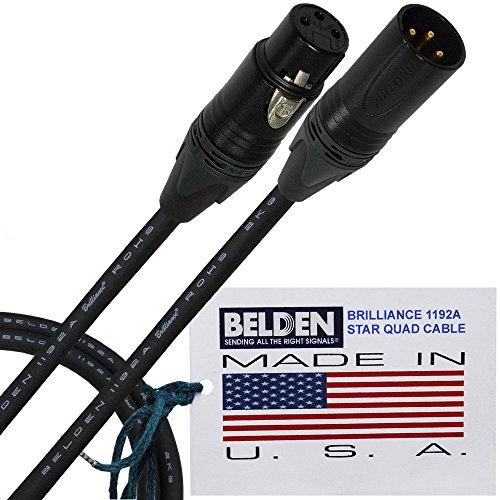 3Meter–Belden Brilliance 1192A (Made in USA)–PREMIUM STAR QUAD-HD Symmetrisches Mikrofon Kabel mit Neutrik Gold XLR-Stecker