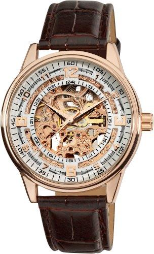 Akribos XXIV AK410RG - Reloj de hombre automático dorado con correa de piel (Resistente a los choques, cristal mineral)