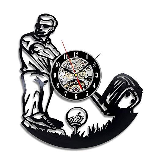 Uhr Spielen Golf Mann Form Vinyl Wanduhr Vintage hängende Uhr handgemachte Hohle Inneneinrichtungen ()