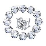 Outus 12 Piezas Pomos de Cristal Perillas de Gabinete de Diamante para Armario y Cajón, Transparente