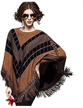 ZKOO Mujeres Ponchos Capas Tassel Suaves Suéter Otoño Invierno Largas Mini Vestidos Chaqueta Túnica Blusa Outwear...