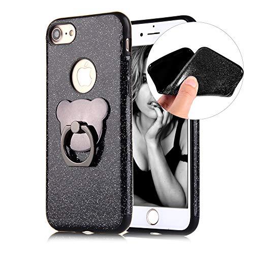 iPhone 7 Handyhülle[mit 360°Drehbarer Ringhalter Fingerhalter],CESTOR Luxus Bling Glänzend Ultra Dünn Weich Flexibel Gel TPU Silikon Glitzer Hülle für iPhone 8,Anti-Kratzer Ultra Slim Weich Gummi TPU Rückseite Schutz HandyHülle für iPhone 7/iPhone 8 [4,7 Zoll],Bär-Schwarz