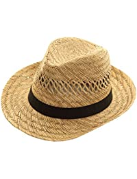 Unisex Natural Straw Trilby/Fedora Hat with a Black Band.