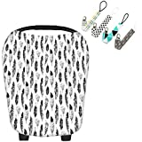Scheppend Multi-Use Stretchy Baby Car Seat Cover Canopy Nursing Breastfeeding Cover Shopping Cart Cover Gift Set For Infant With 4 Pacifier Clips