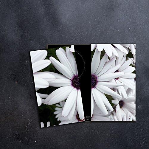 DAMU |Ceranfeldabdeckung 2 Teilig 2x30x52 cm Herdabdeckplatten Blumen Elektroherd Induktion Herdschutz Spritzschutz Glasplatte Schneidebrett Weiß Natur