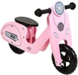 Charles Bentley Wooden Vespa Scooter Balance Bike Age 3+ - In Red, Pink or Blue