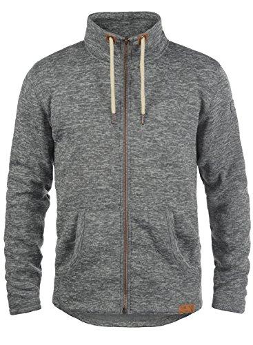 SOLID Luki Herren Fleece-Jacke Übergangsjacke mit Stehkragen aus hochwertigem Material Meliert Grey Melange (8236)
