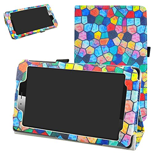 "vodafone smart tab mini 7 / ALCATEL pixi 4 7 Funda,Mama Mouth Slim PU Cuero Con Soporte Funda Caso Case para 7"" vodafone smart tab mini 7 / ALCATEL pixi 4 7 Android Tablet 2016,Stained Glass"