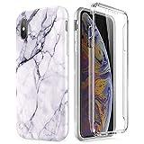 Compatible avec iPhone XS Max Coque, Ultra-Mince Marbre Motif Etui 360 Tout Le Corps...