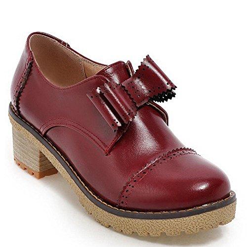AgooLar Damen Rund Zehe Mittler Absatz Weiches Material Rein Ziehen Auf Pumps Schuhe Rot