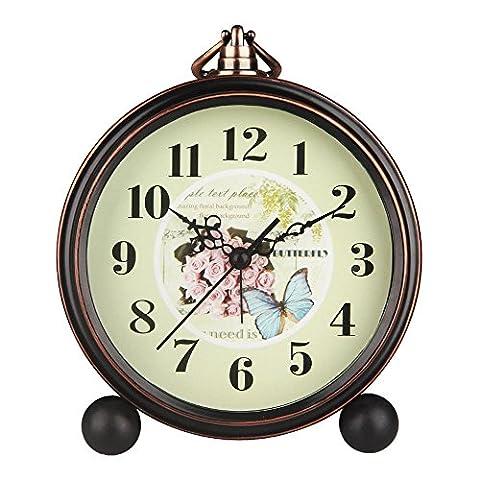 Horloge de cheminée Hense 12,7cm, rétro, classique, ancien, motif décoratif de style européen. Mouvement à quartz, cadre en métal, réveil vintage, Mantle horloge alarme HA65
