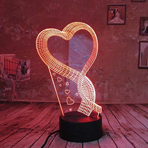 BFMBCHDJ Romantic Love Heart 3D Night Light LED Illusion