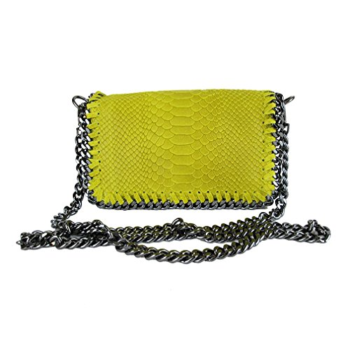 Clutch borsa da sera tracolla in catena vera pelle Made in Italy piton giallo fg