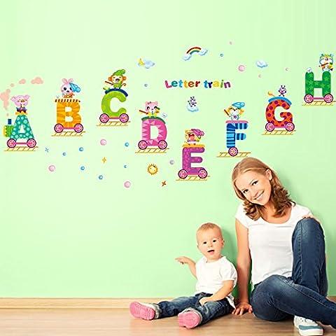 Fumetto decorativo muro adesivi sticker bambini camera bambino alfabeto treno adesivi murali , letter train