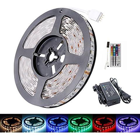 AuraLum® Strisce Led RGB 5m SMD 5050 300 LED Striscia + 44 pulsanti IR telecomando + 5A trasformatore - IP20 - (Multicolore RGB)