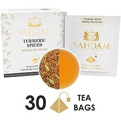Kurkuma Tee Chai - 30 Pyramiden Teebeutel, 100 % Natürlicher Detox Tee - Indiens Wunder Heilrezept - INDIENS TRADITIONELLES SUPER FOOD, Kurkuma Pulver gemischt mit frischen Gewürzen (2 Boxen, je 15 Teebeutel)