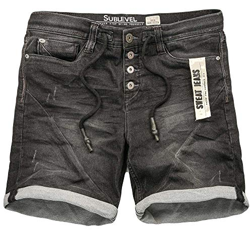 Klassische Schwarze Jeans (Sublevel Herren Sweat Jeans Shorts Kurze Hose Bermuda Sommer Sweathose Slim [B580-Schwarz-Used-W31])