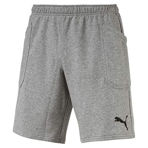 Puma liga casuals, pantaloncini uomo, medium gray heather/nero, 3xl