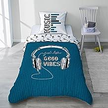 selene et gaa parure housse de couette casque musique good vibes bleu