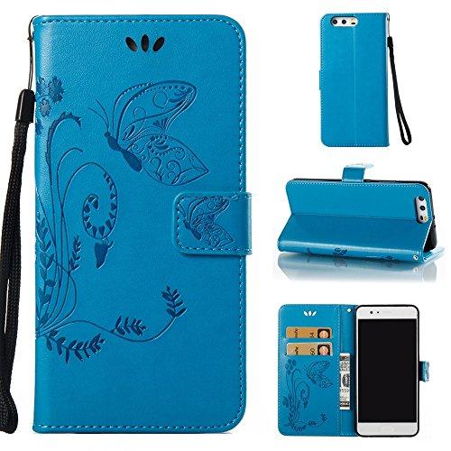 EKINHUI Case Cover Horizontale Folio Flip Stand Muster PU Leder Geldbörse Tasche Tasche mit geprägten Blumen & Lanyard & Card Slots für Huawei P10 Plus ( Color : Blue ) Blue
