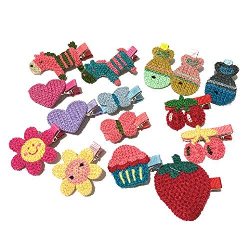 K-youth® 15 piezas pinzas para el cabello niñas princesa estilo de pelo hebilla tejido de punto horquilla infantil para niñas horquillas para el pelo niña bebe gran disfraz para vestir, cosplay, baile (Multicolor)