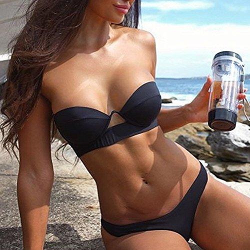 777dff17922f Mecohe Costumi da Bagno Donna Sexy Solidi, Ruffles Bendare Tankini Costume  da Bagno da Spiaggia – Swimsuit Vacanze Set – Acquistare On Line