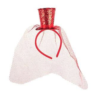 BESTOYARD Mini Hut auf Haarreif mit Schleier Pailletten Damen Zylinderhut Kopfschmuck Haarschmuck (Rot)