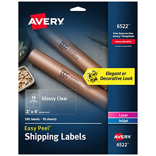 Avery Easy Peel Versand Etiketten, glänzend, transparent, 5,1x 10,2cm 100Stück (6522) (Adress-aufkleber Zurück)