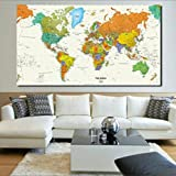 """[Sponsored]TOTAL HOME:Rand Mcnally World Map(50"""" * 32 """") 2018 Nautical Ocean Sea World Map Retro Old Art Paper Painting Home Decor Sticker Living Room Poster Cafe Antique Poster (Color: IVORY)"""