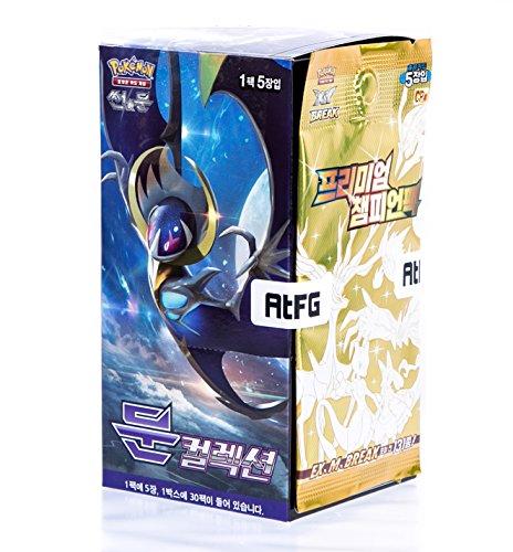Pokémon Cartes Sun & Moon Booster Pack Boîte 30 Packs en 1 boîte Offensive Vapeur Soleil et Lune(Moon Collection) + 5pcs Premium Card Corée TCG