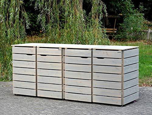 4er Mülltonnenbox / Mülltonnenverkleidung 240 L Holz, Transparent Geölt Grau - 2