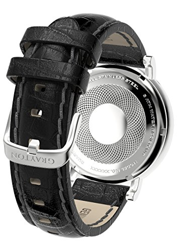 Grayton S.8 Calcutta Men's Quartz Watch with Black Dial Analogue Display and Black Leather Strap GR-0014-007.4