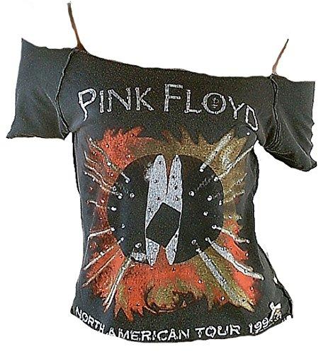 Amplified Elagantly Waisted Damen Lady Woman Frauen T-Shirt Stonewash Grau Gray Official Pink Floyd Merchandise North America Tour 1994 Special Edition Crystal Strass mit Swarovski Elements Steine besetzt Rock Star Vintage Nähte Aussen ViP Rockstar S 36 (Rock Damen-t-shirt Crystal)