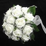 Malla de espuma de marfil atados a mano ramo de novia con rosas y perlas–16Grandes flores