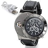 JewelryWe Herren Armbanduhr, Analog Quarz Silikon Armband Uhr mit USB aufladbare elektronische Winddicht flammenlose Zigarettenanzünder, Schwarz