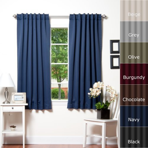 Best Home Fashion Thermal Insulated Blackout Curtains - Back Tab/ Rod Pocket - Navy - 52W x 63L - No tie backs (1 PANEL) by Best Home Fashion (Tie-tab-panel)