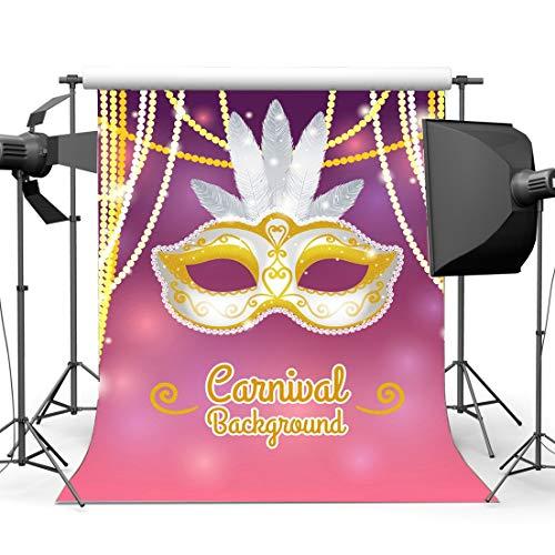 EdCott Vinyl 3X5FT Karneval Party Hintergrund Abschlussfeier Kulissen Sexy Maske Ball Weiße Feder Goldene Bokeh Lichterketten Fotografie Hintergrund für Maskerade Fotostudio Requisiten