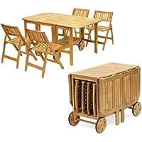 Tavolo Legno Richiudibile Con Sedie.Tavolo Pieghevole Con Sedie Set Di Mobili Amazon It