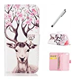 MUTOUREN Samsung Galaxy S7 Luxury Elegant Printing Drawing Design Pattern PU Leather Magnetic Flip Wallet Case Credit Card Slot Protective Stand Case Cover - Elk Deer +mental silvery pen
