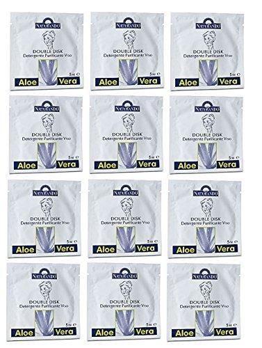 Naturando Lot de 12 disques double-face exfoliants, lissants, favorisant le renouvellement cellulaire, dans sachet individuel, 5 ml [Kit avec savon naturel Quizen offert]