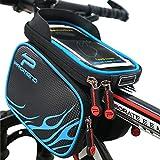 XBoze Fahrradtasche Rahmentaschen Wasserdicht, Fahrrad Handy Tasche mit Abnehmbar Handytasche (Passend bis zu 6,2 Zoll) Radfahren Vorne Top Tube Rahmen Doppel Pouch für Mountain Bike (Blau)
