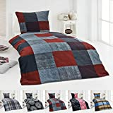 Dreamhome24 Warme Winter Microfaser Thermo Fleece Bettwäsche 135x200 155x220 200x200 Moderne, Design - Motiv:Design 2, Größe:155 x 220 cm